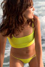 Soshanna in our 403 solid but minimal coverage 302 Tankini and micro 403 Bikini